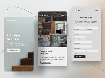 Architect Website Mobile UX & Next Steps Flow