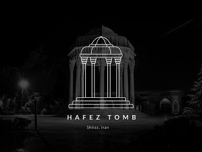 Hafez Tomb poet poem architecture turism minimal shiraz persian persia hafez tomb iranian iran vector illustration