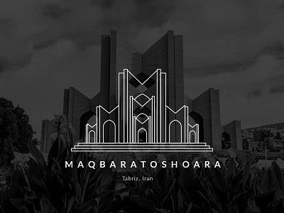Maqbaratoshoara city tabriz minimal turism architecture poet poem iranian iran vector illustration