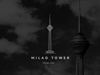 Milad Tower antenna turism architecture minimal persia persian tower milad tehran iranian iran vector illustration