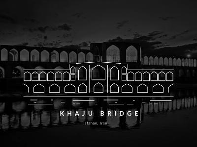 Khaju Bridge vector illustration