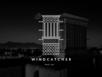 Windcatcher turism iranian traditional home wind minimal persia persian iran yazd architecture vector illustration