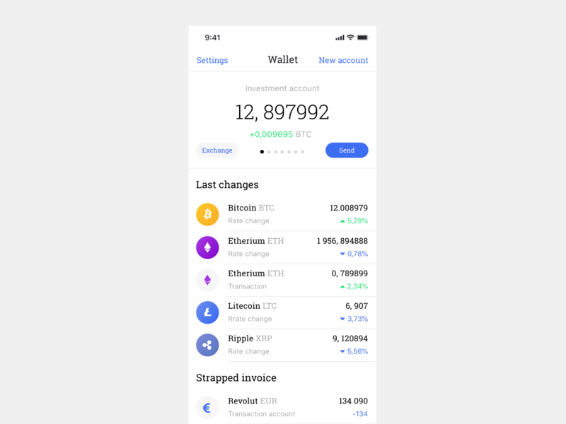 Wallet screen for Crypto Chat app design app ethereum cryptocurrency crypto blockchain bitcoin ui ux design