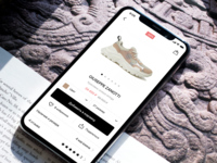 Product page for NO ONE App clothes shoes shopping shop ecommerce app design app ux ui design