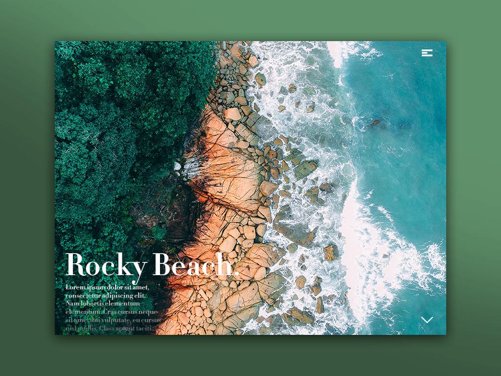 Day 64: Rocky Beach Website ux ui uiux minimalistic branding daily design webdesign graphic design website landing page web design interface illustration uidesign minimal landingpage graphicdesign clean design