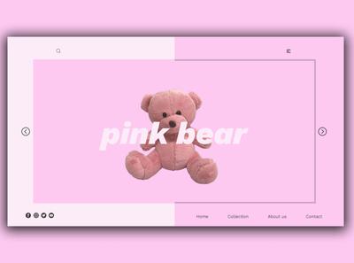 Day 346: Pink Bear Website. landing page landingpage uidesign illustration graphicdesign graphic design interface web design clean minimal design