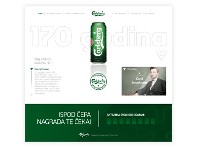 Carlsberg Landing Page product design minimal clean web app icon ux ui typography logo design