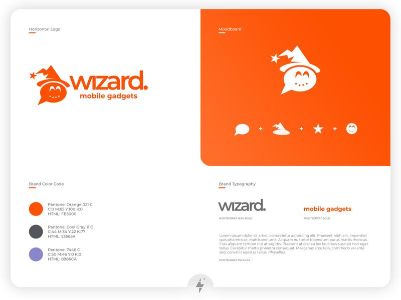 Wizard Mobile Gadgets Logo application app mobile flatdesign flat illustration flat ux ui type minimal typography product design logo clean branding design