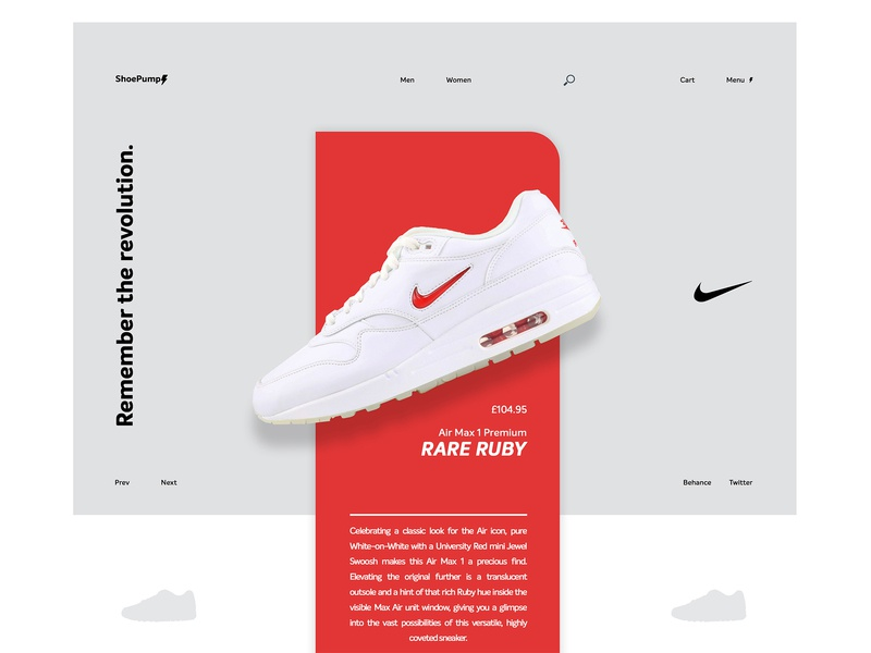 Nike Air Max 1 Premium - Rare Ruby - Landing Page identity nike sneakerhead sneakers minimal ux ui logo design clean branding brand