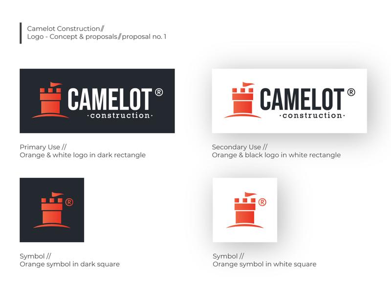 Camelot Logo Proposal no. 1 flat vector construction minimal product design clean brand logo typography branding design