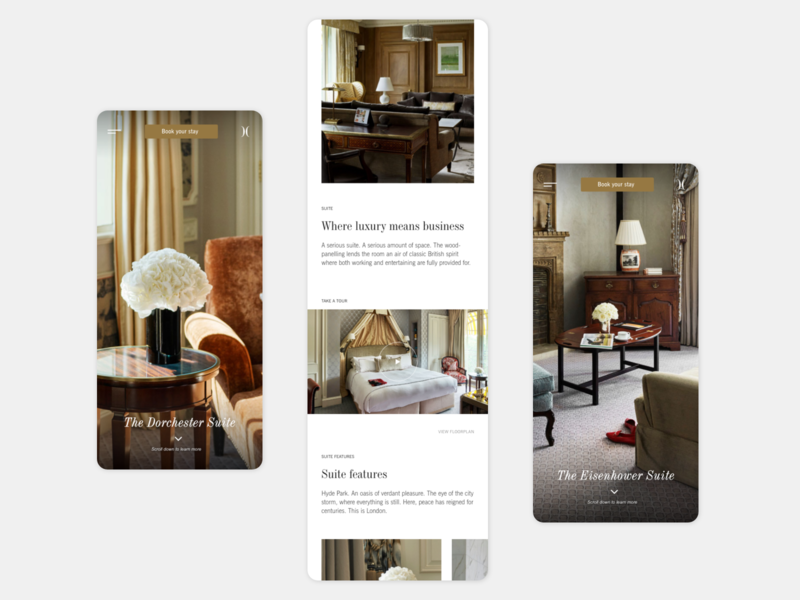 The Dorchester hotel suite redesign ux interaction design webdesign concept responsive uiux ui london