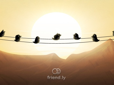 Sunset birds .. graphic design illustration responsive website ux ui user interface interface landing page webdesign web design