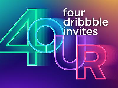 Dribbble Invites web app webdesign web design geometric design typography gradients colors neon invites