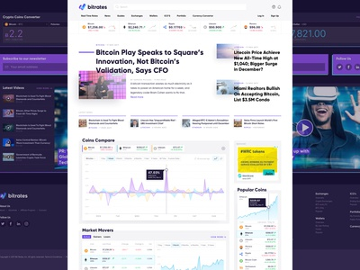 Cryptocurrency Website news crypto analytics reports web application user interface dashboard web app web design ui ux interface