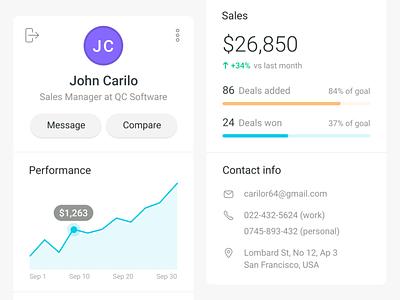 Profile Card web design analytics ux interface user interface web application reports web app dashboard ui