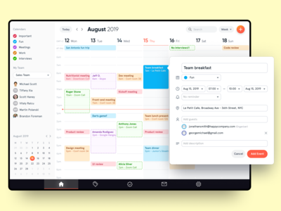 Calendar App forms analytics dashboard ui dashboard web application design web app design web app calendar design calendar 2019 calendar app calendar ui calendar