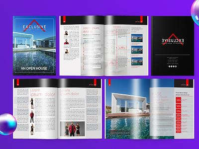 Real Estate Magazine branding design flyer design brochure layout booklet brochure clean magazine real estate realestate