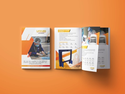 Product Brochure for United PPE ppe coronavirus corona flyer design brochure design medical clinic brochure design brochure layout branding clean