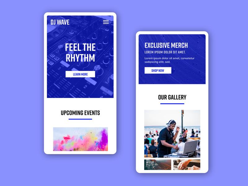 DJ Website Design color palette brand identity color graphic design branding musician rythm dj mobile design ui mobile typography design