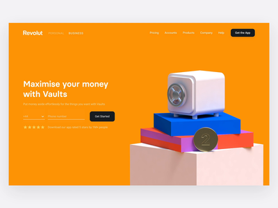 Vaults webpage savings desktop digitaldesign minimal website webdesign clean vaults fintech finance finance app cinema 4d animation 3d render 3d illustration 3d animation 3d