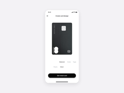 Customized Card Order Flow — Physical cards (3D view) minimal product design minimal card creditcard app design animation card app ux ui ios plastic card 360 degree 3d card design metal card cards create card design physical cards card order flow