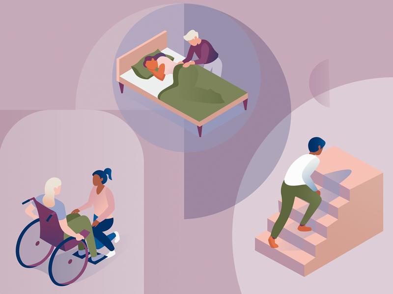 Medical header about NMOSD genentech illustrator carer bed wheelchair designs ux ui branding medical care illness medical illustration editorial amsterdam design adobe illustrator adobe photoshop illustration