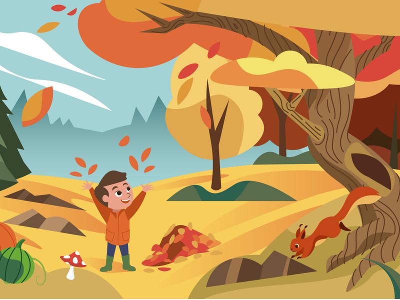 Autumn is here! autumnillustration herfstillustratie mushroom kinderillustratie illustratie adobe illustrator adobe old tree tree design playfull happykid squirrel bookillustration kidsillustration illustration weather leaves autumn