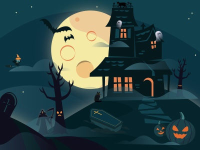 Haunted Graveyard kids illustration illustratie hauntings halloween weekly halloween scene illustrator pumpkin witch haunted house moon graveyard haunted halloween