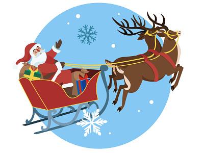 Santa Claus and his reindeers reindeers santa claus holiday season christmas web branding illustratie vector holland amsterdam design adobe illustrator adobe photoshop illustration