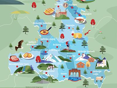 Map SalzburgerLand food map map of austria austria salzburgerland illustrated map illustrator branding illustratie vector editorial design adobe illustrator adobe photoshop illustration