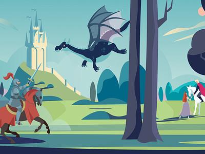 A fairytale kids illustration princess prince knight dragon fairytale illustrator web illustratie vector editorial holland design adobe illustrator adobe photoshop illustration
