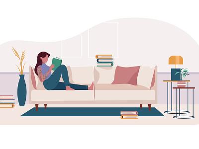 Relaxing sunday trendy interior modern interior lamp girl reading on sofa reading tatoo girl branding illustratie amsterdam vector editorial holland design adobe illustrator adobe photoshop illustration