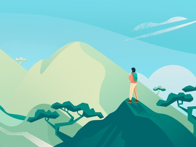 Hiking into the mountains china nature china beautiful mountains nature art mountain ridge zen moment women hiking digital illustration web illustration nature onboarding illustration branding web international womens day genentech editorial design adobe illustrator adobe photoshop illustration