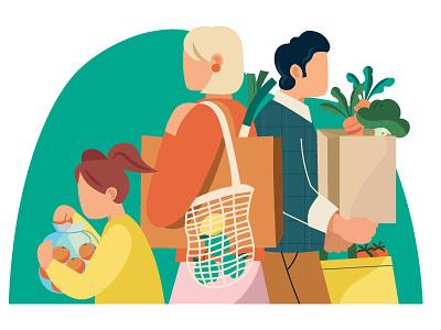 Healthy Shopping healthy colorfull illustration vectorart shop covid corona shopping greens health supermarket logo illustrator branding illustratie holland editorial design adobe photoshop adobe illustrator illustration