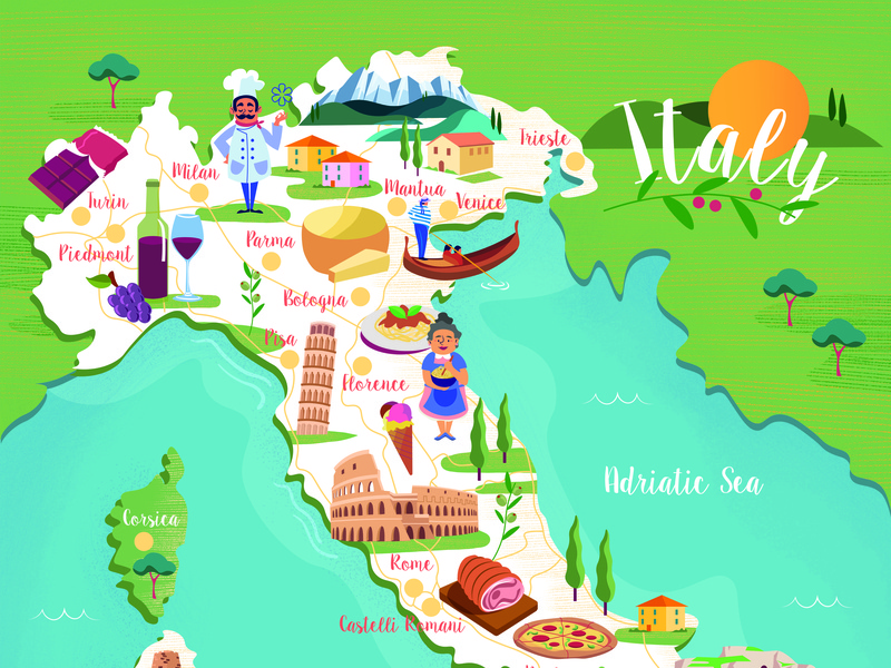 Food And Travel Magazine Italy Map By Jasmijn Solange Evans
