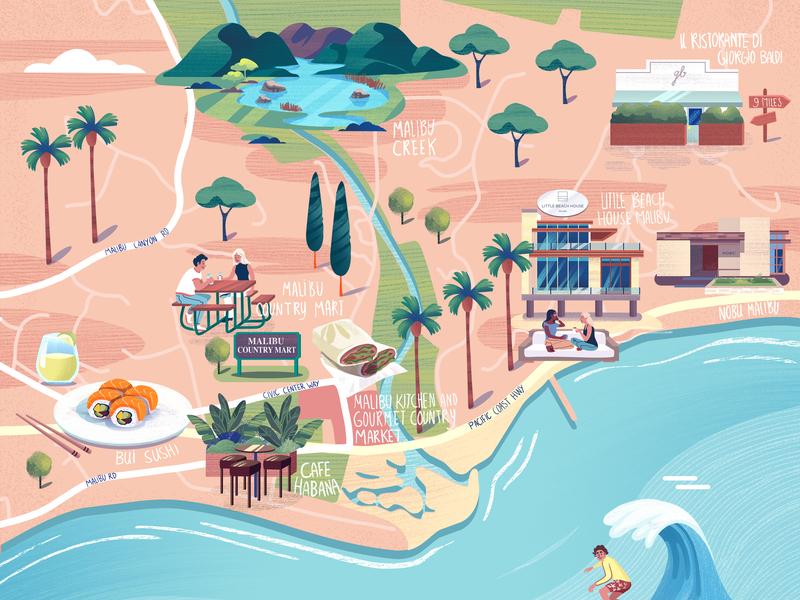 West Coast Illustrated Map utrecht amsterdam design illustratie illustration usa sunny palmtrees hotel sushi surf mapping illustrated map west coast malibu adobe photoshop