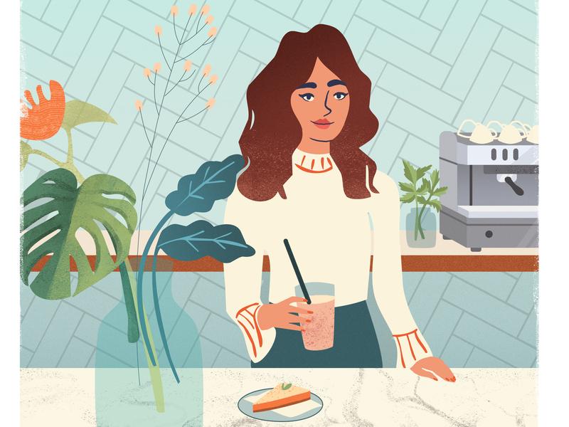Coffee Time Flow Magazine trendy sweettooth flow breakfast design illustrator amsterdam cafe girl cake coffee flowmagazine illustration adobe photoshop