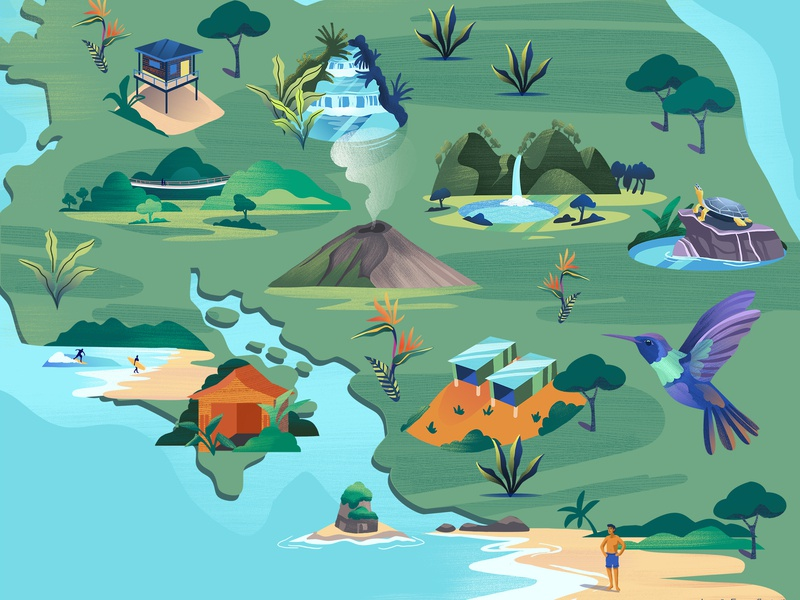 Illustrated map of Costa Rica for KLM inflight magazine bungelows surf illustrated map tropical vulcano beach jungle hummingbird costa rica hollandherald klm airline holland illustration adobe photoshop