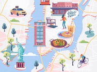 Illustrated map of NYC for KLM