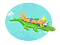 Floating on a croc