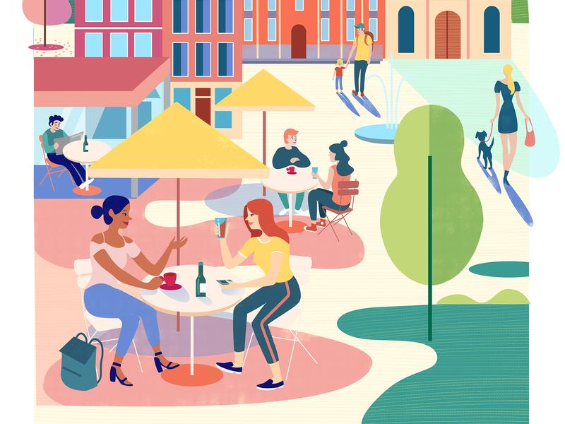 Sint-Truiden digitaldesign graphicdesign appdesign city summer cafe terrace belgium sint-truiden app ux branding logo vector ui design amsterdam adobe illustrator illustration adobe photoshop