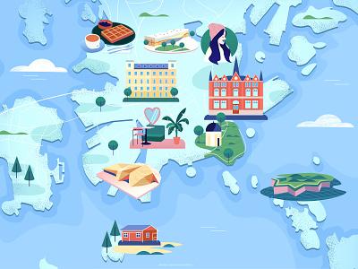 Illustrated map of Helsinki illustrated map digitalillustration finland hollandherald web app icon ux ui girl vector branding klm dutch editorial amsterdam design adobe illustrator illustration adobe photoshop