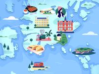 Illustrated map of Helsinki