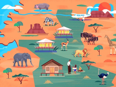 Illustrated map of Serengeti Afrika wildlife afrika serengeti icon web illustrated map branding vector editorial holland amsterdam design adobe illustrator illustration adobe photoshop