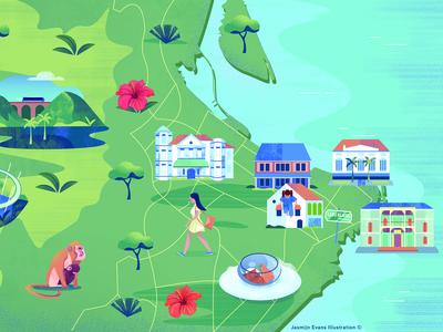 Illustrated map of Malaysia/Penang