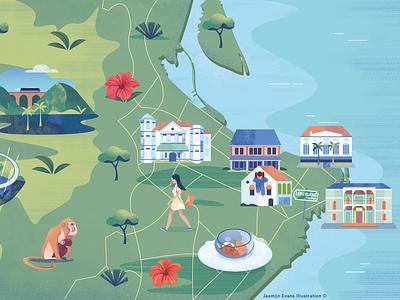 Illustrated map of Malaysia/Penang editorial design klm digital illustration logo icon illustrated map web ux ui dutch illustratie branding vector editorial holland amsterdam design adobe illustrator illustration adobe photoshop