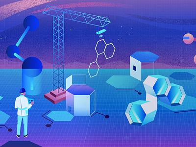 Building New Medicines blueprint science illustration illustrator utrecht art molecules genetech science branding illustratie vector holland amsterdam design adobe illustrator illustration adobe photoshop