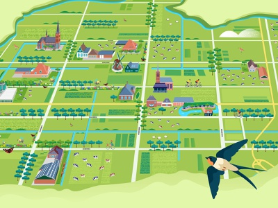 Map of De Beemster dutchhouses flowers butterfly bees fields cows swallow dutch illustratedmap beemster beemster holland amsterdam design adobe illustrator illustration adobe photoshop