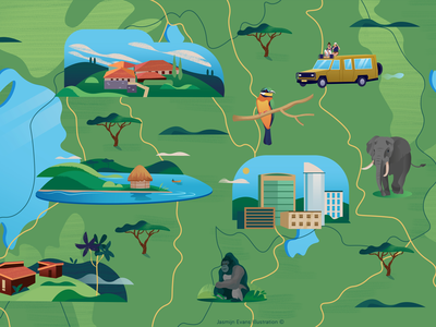 Illustrated map of Rwanda akagera national park lake kivu lake kivu hotel gorilla elephant safari illustrated map editorial klm holland amsterdam design adobe illustrator illustration adobe photoshop