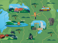 Illustrated map of Rwanda
